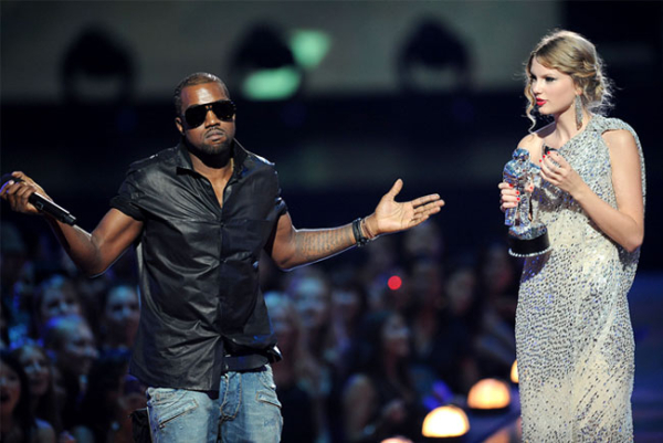 "Kanye West, after grabbing the microphone from Taylor Swift during her ""Best Female Video"" acceptance speech"